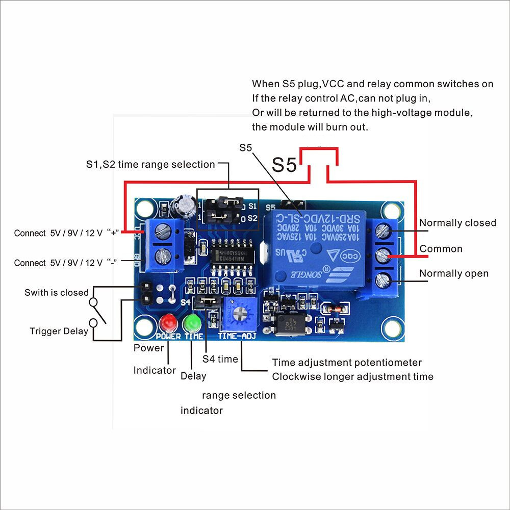 Delay switch Relay with Timer Max DC 12V