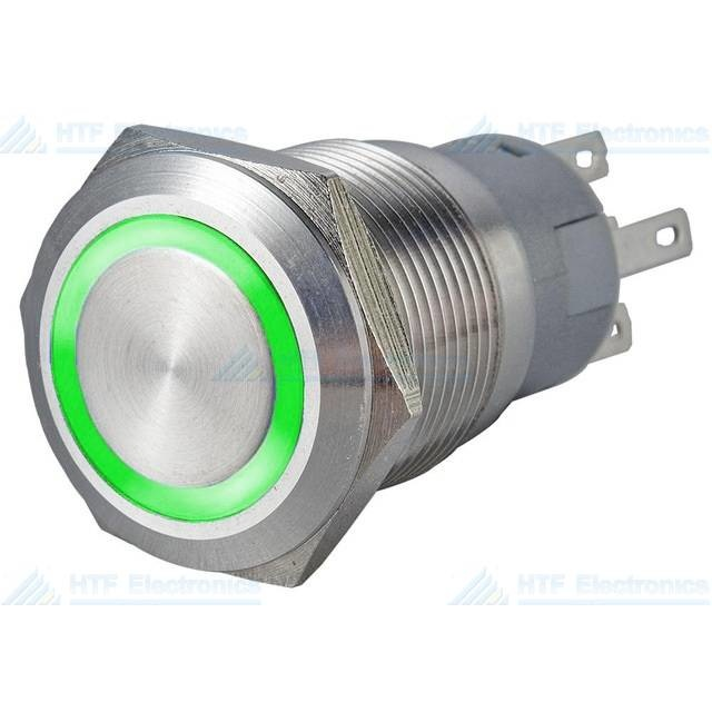 16mm Pressure Switch Latching with Ring Lighting Green
