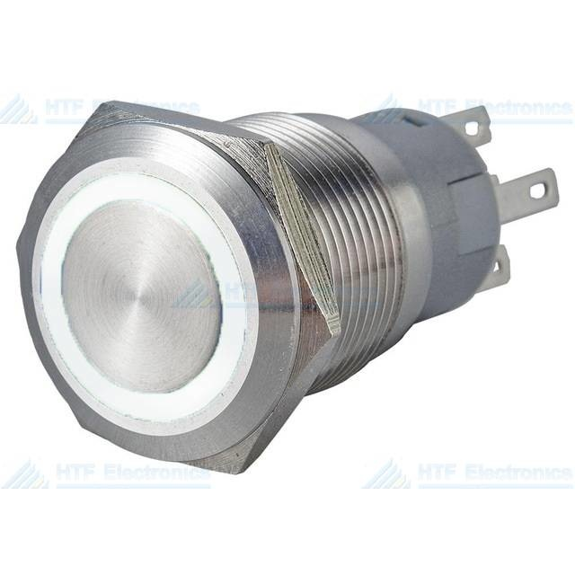 16mm Pressure Switch Latching with Ring Lighting White