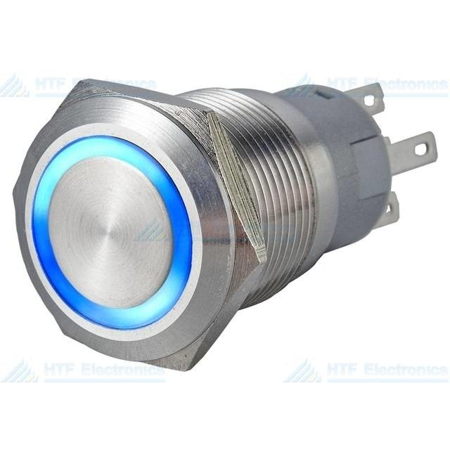 16mm Pressure Switch Latching with Ring Light Blue Max 24V