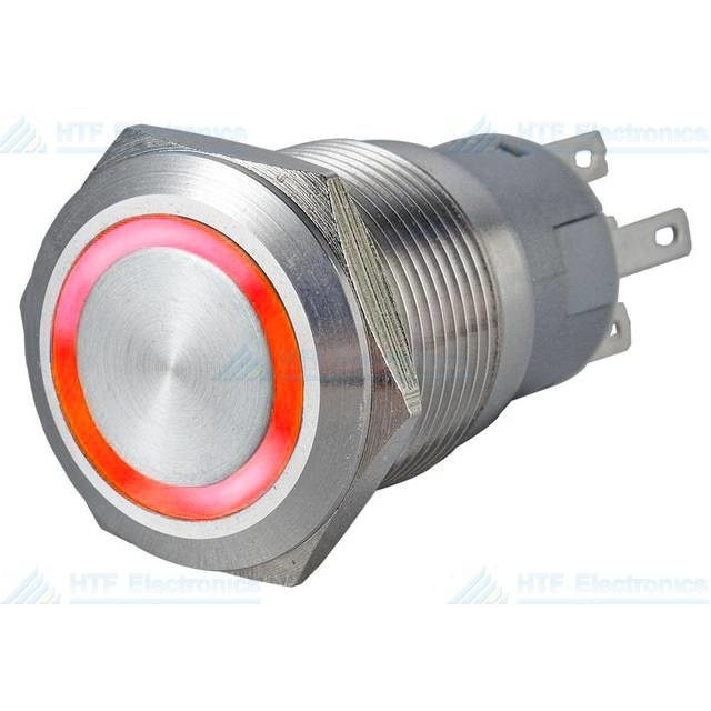 16mm Pressure Switch Latching with Ring Light Red Max 24V