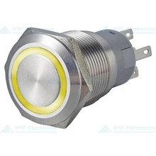16mm Pressure Switch Latching with Ring Light Yellow Max 24V