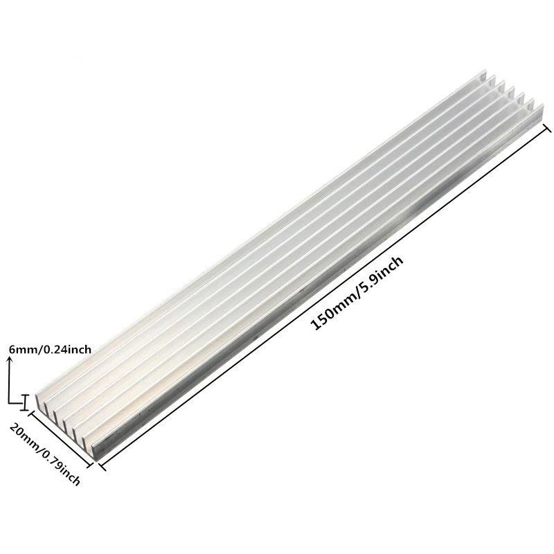 Aluminium koellichaam (heatsink) 150 x 20 x 6mm