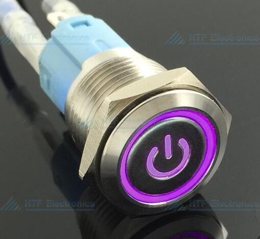 16mm Pressure Switch Self-reset Momentary Illuminated logo ring light Purple