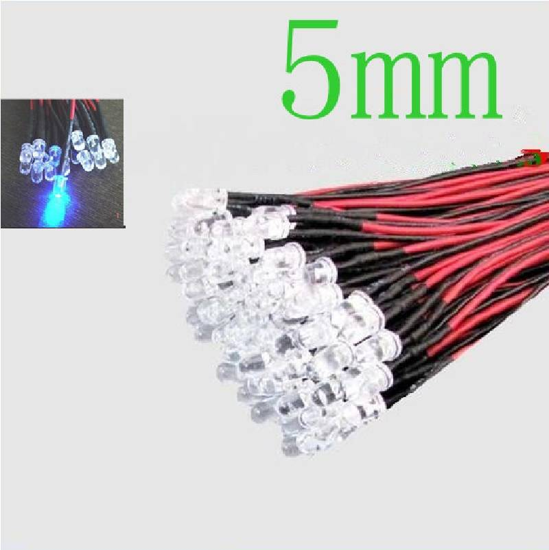 5mm Pre Wired Led Blauw Helder