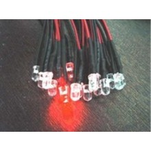 3mm Pre Wired led Red Clear Flash