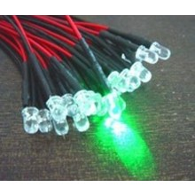 3mm Pre Wired led Groen Helder Knipper (flash)