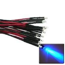 3mm Pre Wired Led Clear Blue Flash