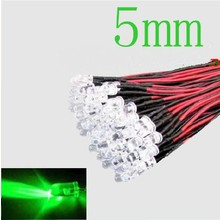 Pre Wired led 5mm Groen Helder Knipper (flash)
