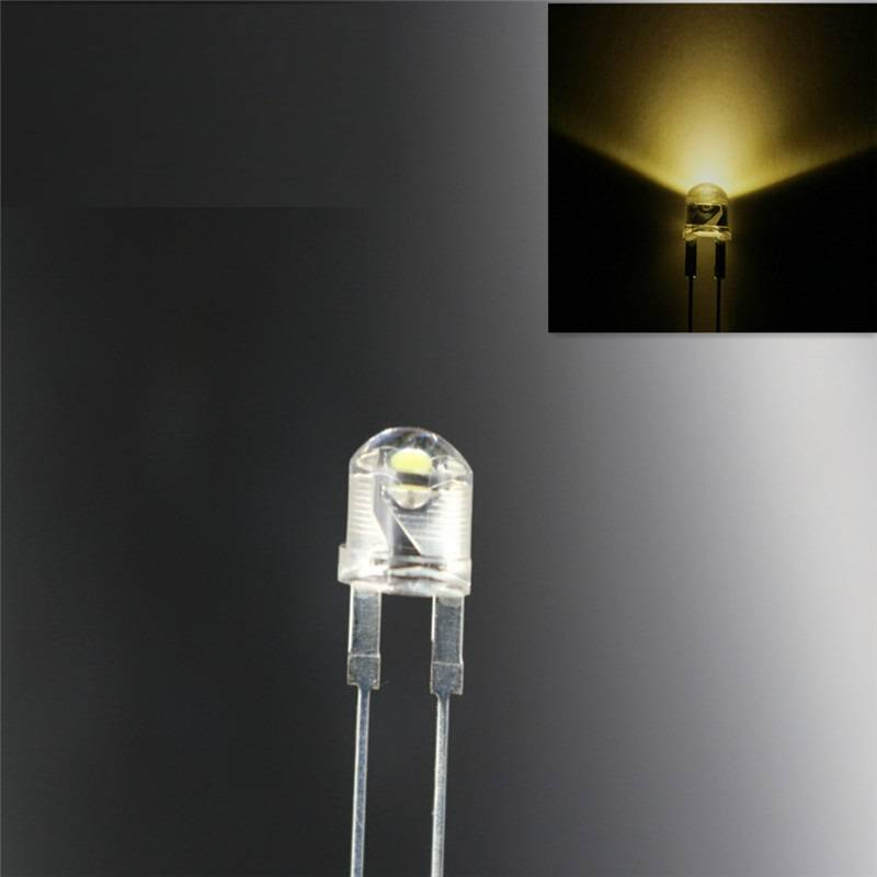 8mm Straw Hat Led Clear Warm White