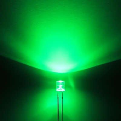 3mm Flat Top Led Clear Green