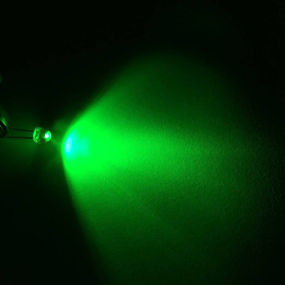8mm Straw Hat Led Clear Green