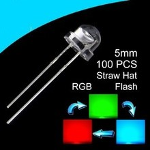 5mm Straw Hat Led RGB  (Flash) Clear
