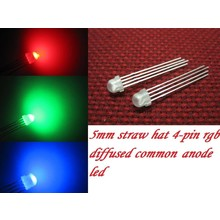 5mm Straw Hat Led White Diffused RGB Common Anode
