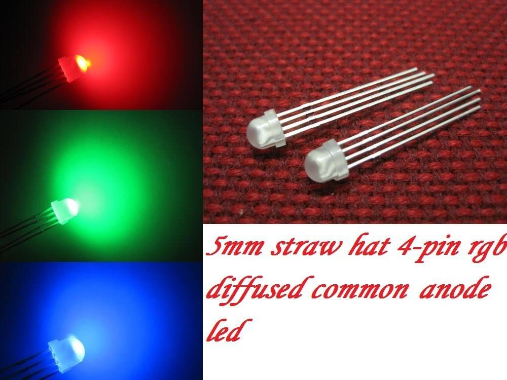 5mm Straw Hat Led Wit Diffuus RGB Common Anode