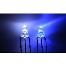 3mm Round Led Clear Bi-color Blue / White Common Anode