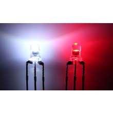 3mm Round Led Clear Bi-Color Red / White Common Anode