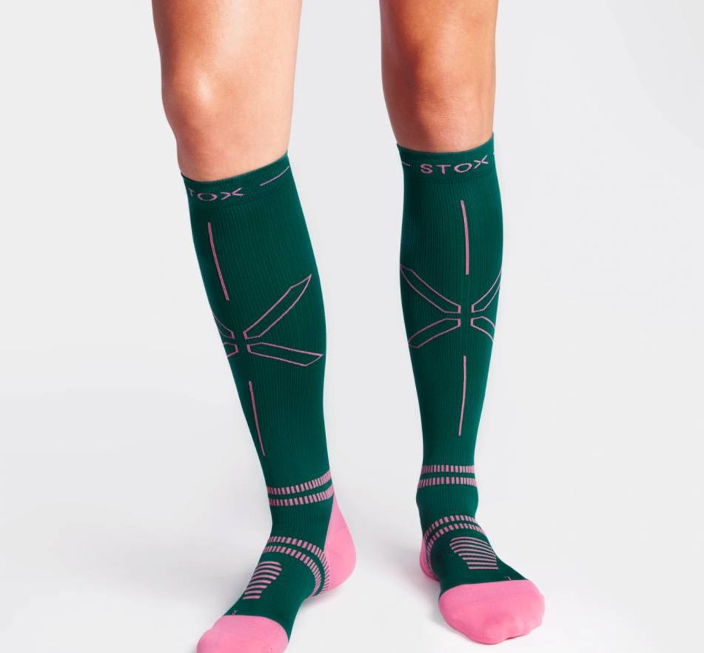 STOX Running Socks Women - Green / Raspberry