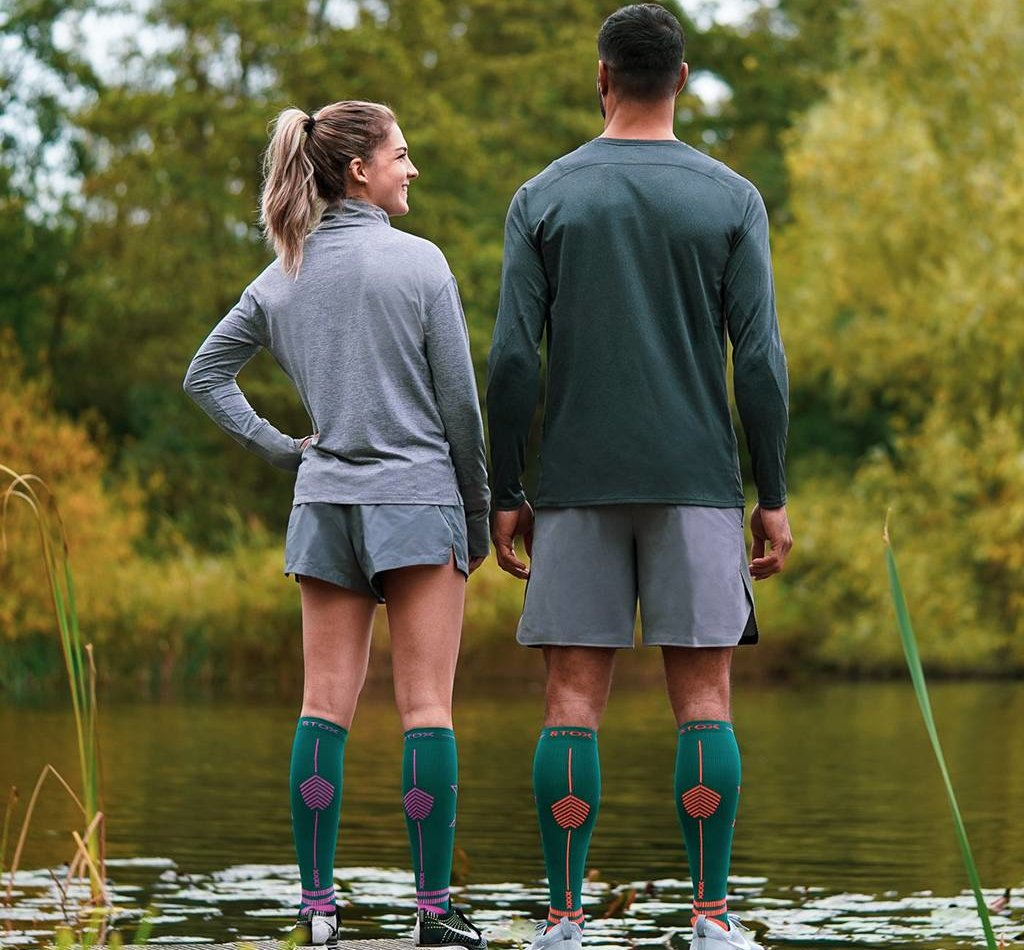 STOX Lightweight Running Socks Men - Green / Orange
