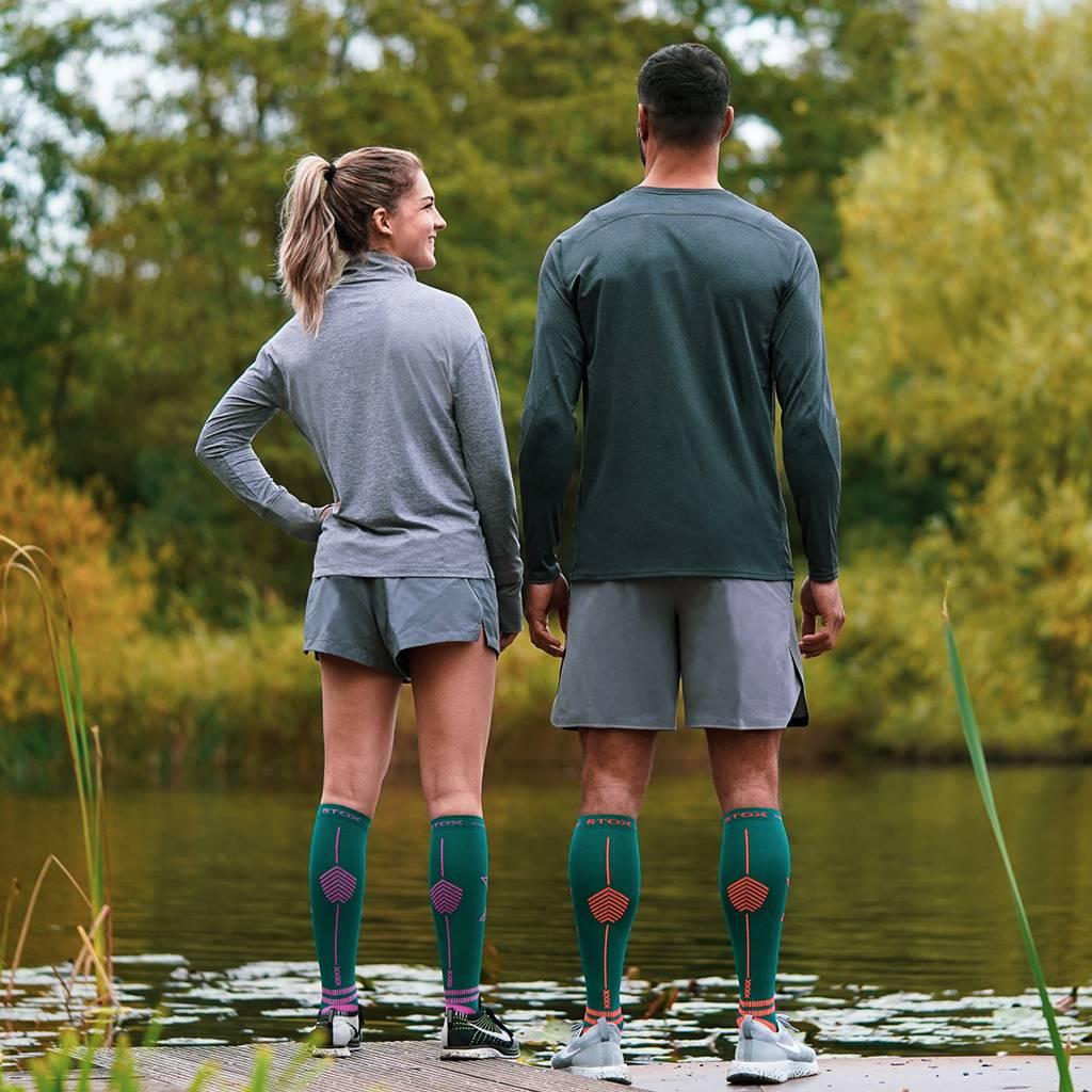 STOX Lightweight Running Socks Mannen - Groen / Oranje
