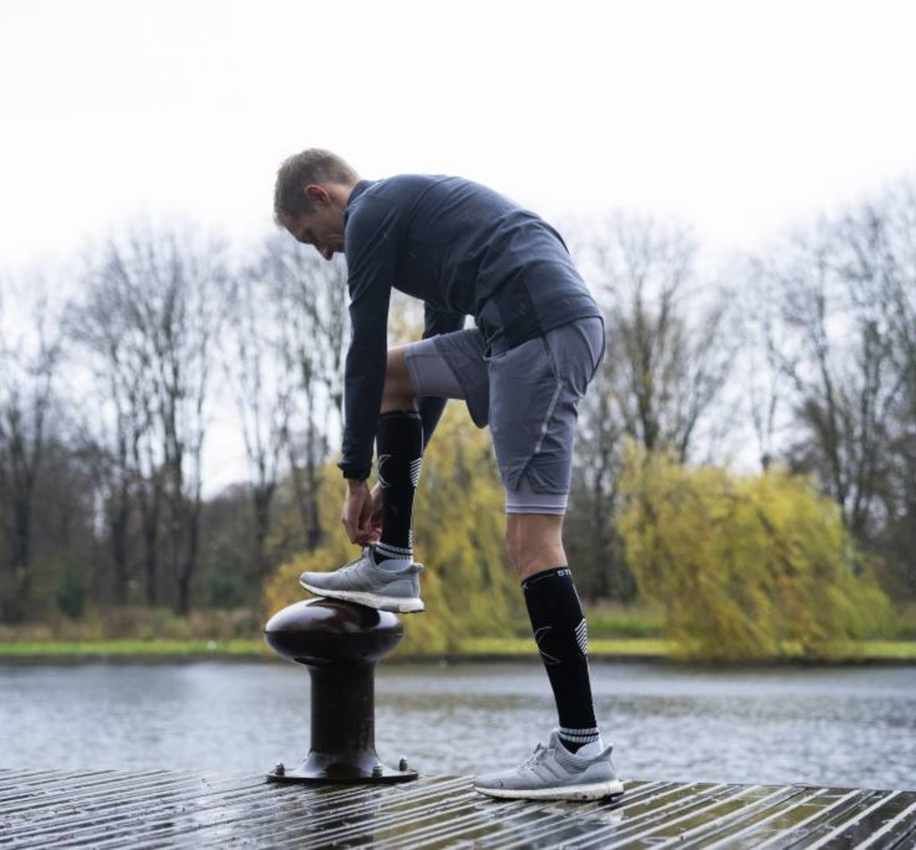 STOX Running Socks Men - Black / Ice Grey