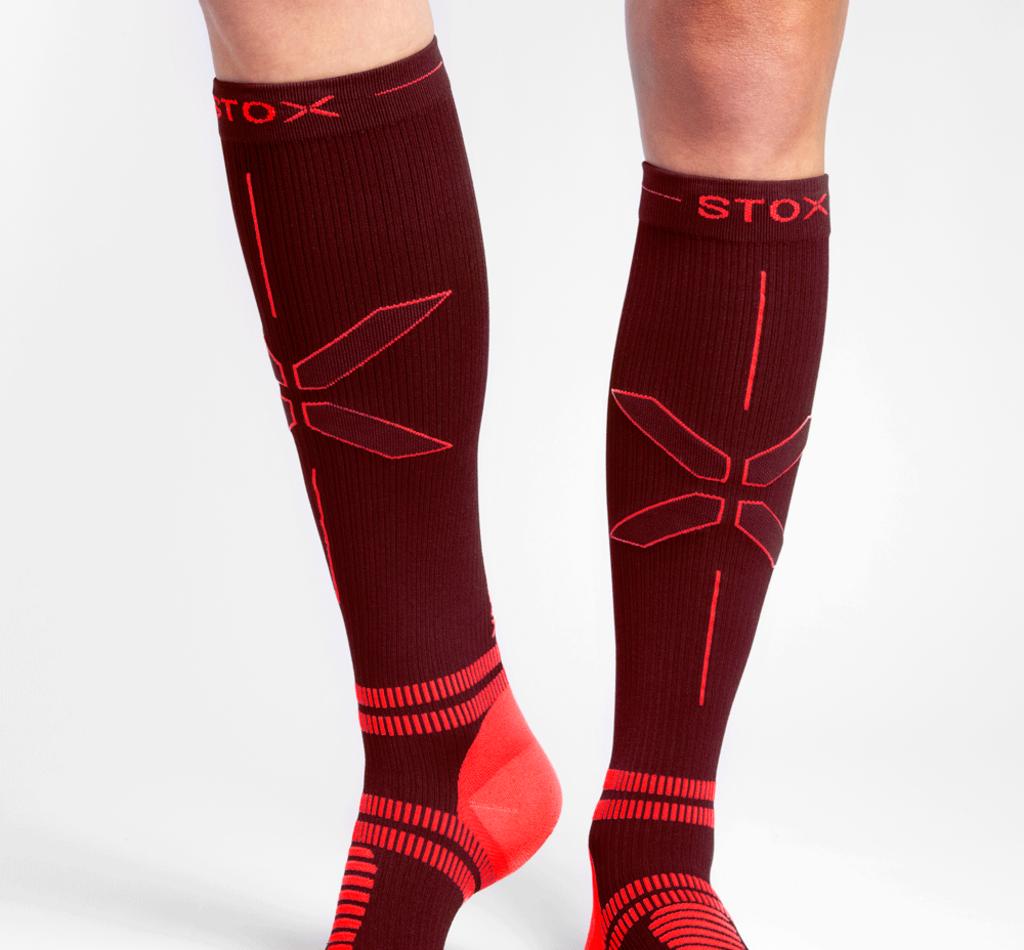 STOX Running Socks Women - Bordeaux / Orange