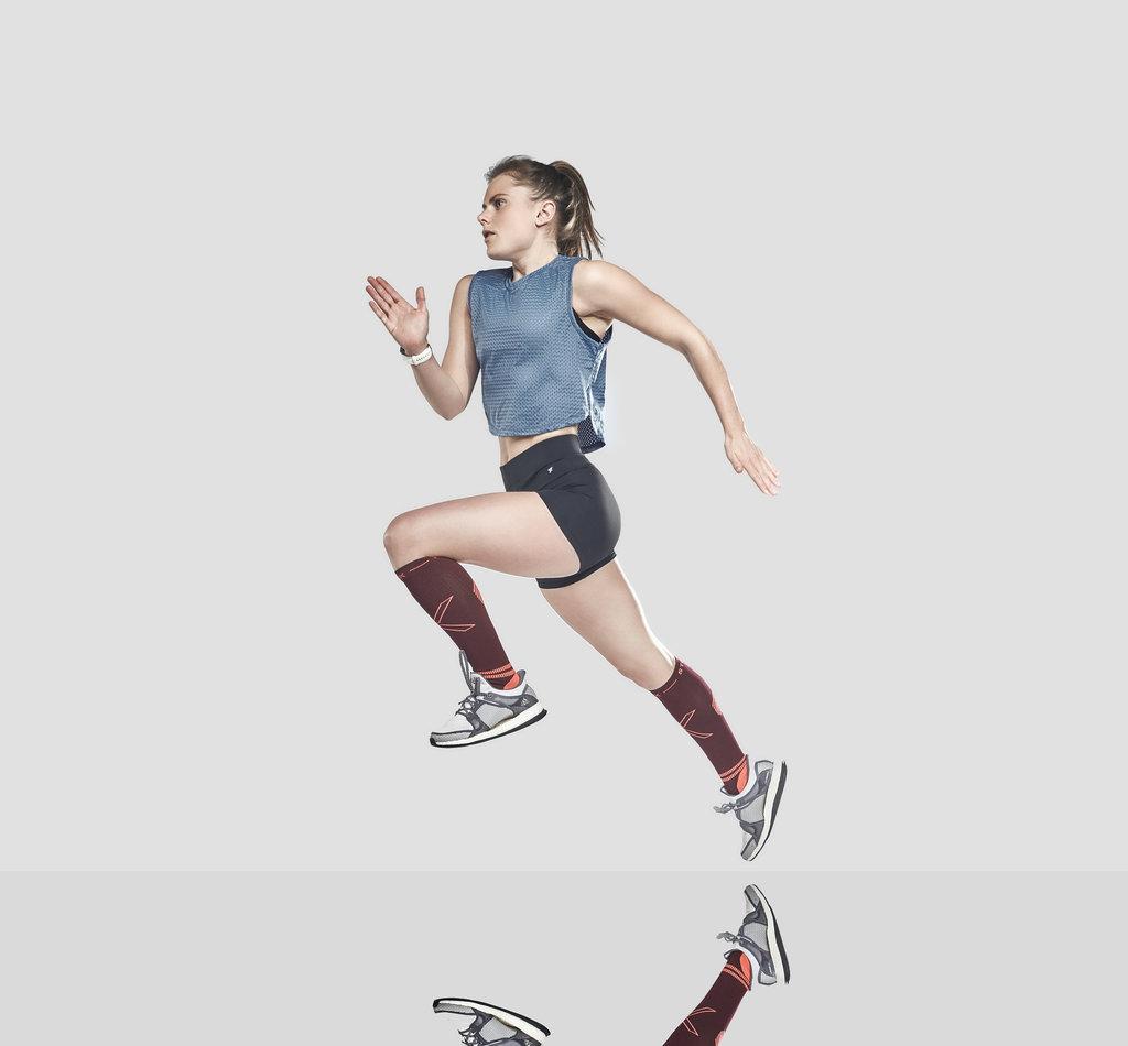 STOX Running Socks Vrouwen - Bordeaux / Oranje