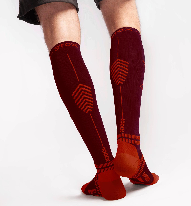STOX Running Socks Mannen - Bordeaux / Rood