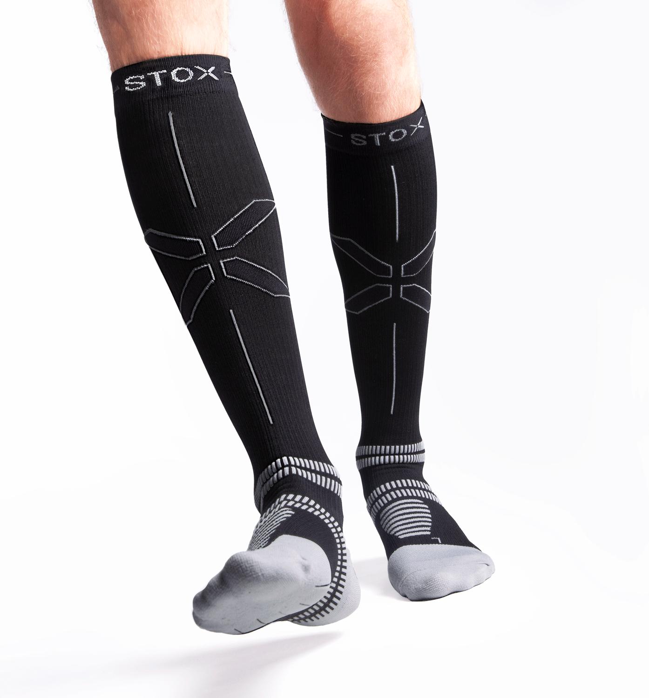 STOX Running Socks Mannen - Zwart / Grijs