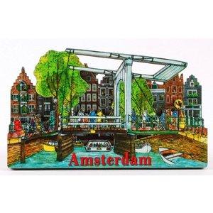 Typisch Hollands Magneet 2D ophaalbrug Amsterdam