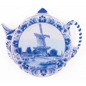 Typisch Hollands Tea bag - Saucer - Delft - Windmill