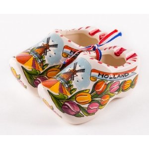 Typisch Hollands Clogs of tulip decor on a ribbon of 7 cm