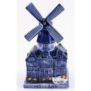 Typisch Hollands Delfts blauwe molen met muziek