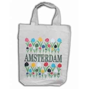 Typisch Hollands Eco linnen Draagtas - Amsterdam - Tulpen