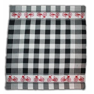 Typisch Hollands Black White tea towel - Cycling