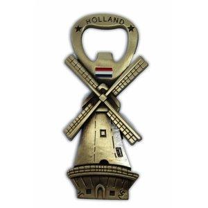 Typisch Hollands Windmühle - Magnet - Flaschenöffner - Bronze