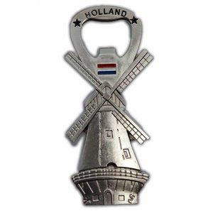 Typisch Hollands Windmühle - Magnet - Flaschenöffner - Silber