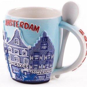 Typisch Hollands Tasse mit Löffel - Amsterdam