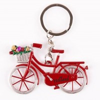 Typisch Hollands Keychain - Bicycle with Tulips - Red