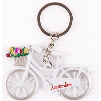 Typisch Hollands Keychain - Bicycle with Tulips - White