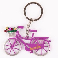 Typisch Hollands Keychain - Bicycle with Tulips - Purple