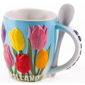 Typisch Hollands Mug with Spoon of Tulips