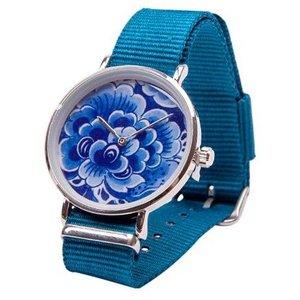 Heinen Delftware Delfts blauw Horloge - Bloem