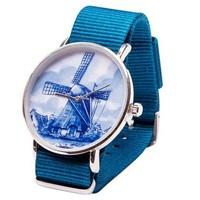 Typisch Hollands Delfter Blau Uhr - Mill