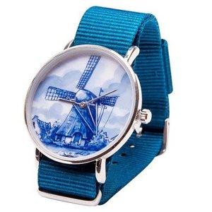 Heinen Delftware Delfts blauw Horloge - Molen