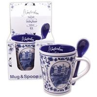 Typisch Hollands Mug with Spoon Delft blue
