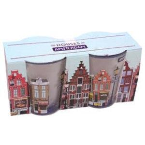 Typisch Hollands Shotglasset Amsterdam huisjes