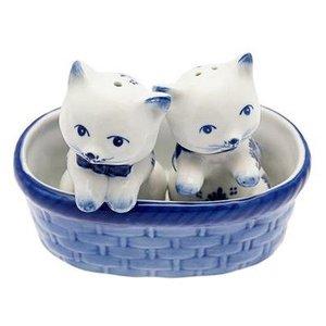 Heinen Delftware Salt and Pepper kittens in Basket Blue