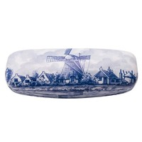 Typisch Hollands Delfts blauwe brillenkoker Molenlandschap