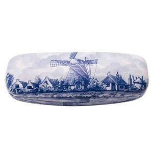 Heinen Delftware Delfts blauwe brillenkoker Molenlandschap